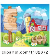 Cartoon Of A Wooden Sign Over A Path Leading To A Barn Royalty Free Vector Clipart