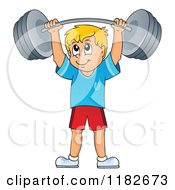Cartoon Of A Blond Man Lifting A Barbell Royalty Free Vector Clipart