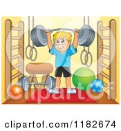 Cartoon Of A Blond Man Lifting A Barbell In A Gym Room Royalty Free Vector Clipart