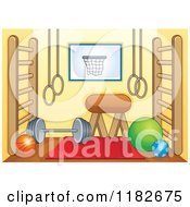Cartoon Of A Gym Room With Equipment Royalty Free Vector Clipart by visekart