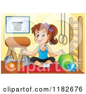Cartoon Of A Brunette Woman Doing Yoga In A Gym Room Royalty Free Vector Clipart by visekart