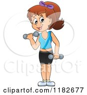 Cartoon Of A Brunette Woman Working Out With Dumbbells Royalty Free Vector Clipart