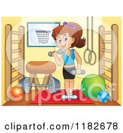 Cartoon Of A Brunette Woman Working Out With Dumbbells In A Gym Room Royalty Free Vector Clipart by visekart