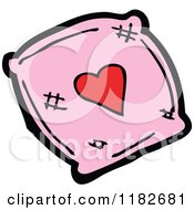Cartoon Of A Pink Pillow With A Heart Royalty Free Vector Illustration