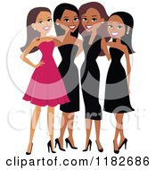 Clipart Of Happy Diverse Ladies In Formal Dresses Royalty Free Vector Illustration by Monica