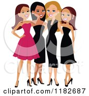 Clipart Of Beautiful Diverse Ladies In Formal Dresses Royalty Free Vector Illustration