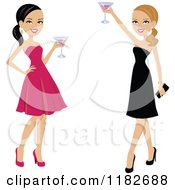 Clipart Of Two Beautiful Women Toasting In Formal Gowns Royalty Free Vector Illustration by Monica