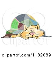 Cartoon Of A Chubby Ginger Cat Napping Under A Quilt Royalty Free Clipart by djart