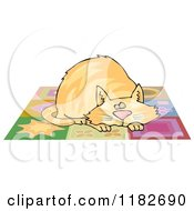 Cartoon Of A Chubby Ginger Cat Napping On A Quilt Royalty Free Clipart by djart