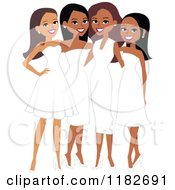 Clipart Of Happy Diverse Ladies In White Formal Dresses Royalty Free Vector Illustration