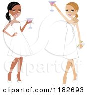 Clipart Of Two Beautiful Women Toasting In White Formal Gowns Royalty Free Vector Illustration by Monica