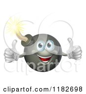 Cartoon Of A Happy Bomb Mascot Holding Two Thumbs Up Royalty Free Vector Clipart by AtStockIllustration