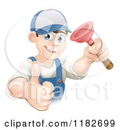 Cartoon Of A Happy Young Plumber Holding A Plunger And A Thumb Up Royalty Free Vector Clipart