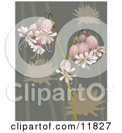 Pretty Bell Flowers Over Green Clipart Illustration by AtStockIllustration