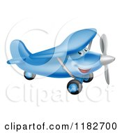 Cartoon Of A Happy Blue Airplane Character Flying Royalty Free Vector Clipart by AtStockIllustration