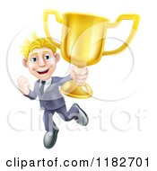 Victorious Blond Businessman Holding A Trophy Cup