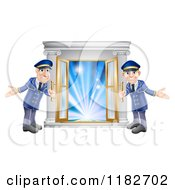Cartoon Of Friendly Door Men Holding Open VIP Doors To Lights Royalty Free Vector Clipart by AtStockIllustration