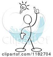 Cartoon Of A Stickler With An Idea Light Bulb Over Blue Royalty Free Vector Clipart by Johnny Sajem