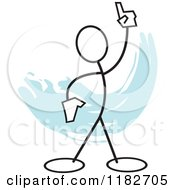 Cartoon Of A Stickler Holding Up A Finger Over Blue Royalty Free Vector Clipart by Johnny Sajem