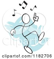 Cartoon Of A Stickler Doing A Happy Dance Over Blue Royalty Free Vector Clipart