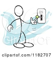Cartoon Of A Stickler Turning A Switch On Over Blue Royalty Free Vector Clipart