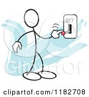 Cartoon Of A Stickler Turning A Switch Off Over Blue Royalty Free Vector Clipart