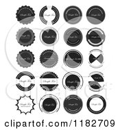Clipart Of Grayscale Badge Seals With Sample Text Royalty Free Vector Illustration by vectorace