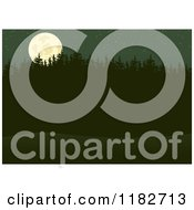 Clipart Of A Full Moon Over Forest Trees At Night Royalty Free Vector Illustration