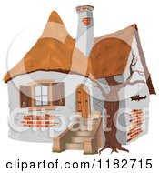 Clipart Of A Creepy Cottage With A Bat And Spider Web Royalty Free Vector Illustration by dero