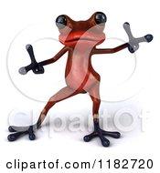 Clipart Of A 3d Red Springer Frog Dancing 2 Royalty Free CGI Illustration