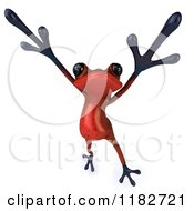 Clipart Of A 3d Red Springer Frog Dancing Or Jumping Royalty Free CGI Illustration