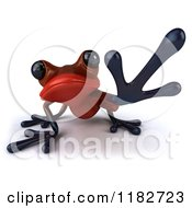 Clipart Of A 3d Red Springer Frog Reaching Royalty Free CGI Illustration