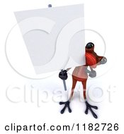 3d Red Springer Frog Holding A Sign