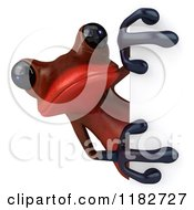 Clipart Of A 3d Red Springer Frog Looking Around A Sign Royalty Free CGI Illustration by Julos