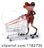 3d Red Springer Frog Pushing A Shopping Cart