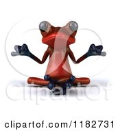 3d Red Springer Frog Meditating