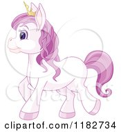 Clipart Of A Cute Purple Princess Pony Wearing A Crown Royalty Free Vector Illustration