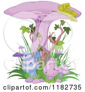 Clipart Of Purple Magic Mushrooms With Ivy Royalty Free Vector Illustration by Pushkin