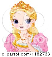 Clipart Of A Pretty Princess From The Shoulders Up Royalty Free Vector Illustration