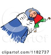 Cartoon Of A Stick Boy Making His Bed Royalty Free Vector Clipart