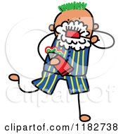 Cartoon Of A Stick Boy Brushing His Teeth Royalty Free Vector Clipart
