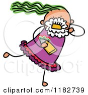 Cartoon Of A Stick Girl Brushing Her Teeth Royalty Free Vector Clipart by Prawny