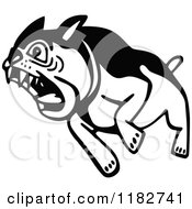 Clipart Of A Black And White Attacking Bulldog Royalty Free Vector Illustration