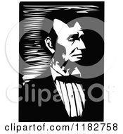 Clipart Of A Black And White Portrait Of Abraham Lincoln Royalty Free Vector Illustration