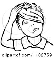 Clipart Of A Black And White Boy With A Bandage Around His Head Royalty Free Vector Illustration
