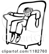 Clipart Of A Black And White Boy Sinking Into A Chair Royalty Free Vector Illustration