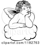 Clipart Of A Black And White Thoughtful Cherub On A Cloud Royalty Free Vector Illustration