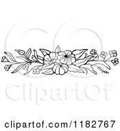 Clipart Of A Black And White Floral Rush Header Royalty Free Vector Illustration