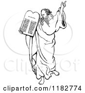 Clipart Of A Black And White Moses Holding Up The Ten Commandments Royalty Free Vector Illustration