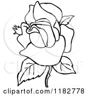 Clipart Of A Black And White Blooming Rose Royalty Free Vector Illustration by Prawny